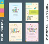 set of memphis style card... | Shutterstock .eps vector #1037913862
