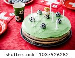 kids birthday party football... | Shutterstock . vector #1037926282