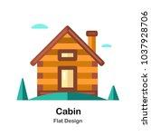 wooden cabin in the wood flat... | Shutterstock .eps vector #1037928706