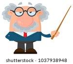 professor or scientist cartoon... | Shutterstock . vector #1037938948