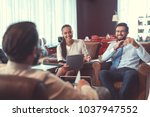 business people at meeting in... | Shutterstock . vector #1037947552
