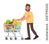 man is carrying a grocery cart... | Shutterstock .eps vector #1037950102