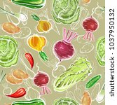 vegetables seamless pattern.... | Shutterstock .eps vector #1037950132