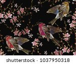 embroidery birds and blossoming ... | Shutterstock .eps vector #1037950318