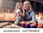 grandmother and granddaughter... | Shutterstock . vector #1037964805