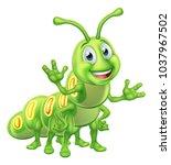 A caterpillar worm cute cartoon character mascot