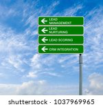 road sign to lead management | Shutterstock . vector #1037969965