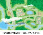 suburban map with houses with... | Shutterstock .eps vector #1037975548
