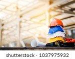 teamwork of the construction... | Shutterstock . vector #1037975932