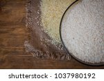 rice. steamed rice on wood...   Shutterstock . vector #1037980192