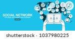 social network. concept. flat... | Shutterstock .eps vector #1037980225