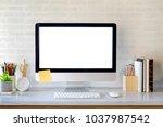 blank screen on the desktop... | Shutterstock . vector #1037987542