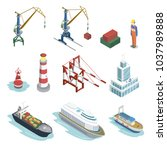 sea shipping logistics... | Shutterstock .eps vector #1037989888