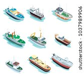 Commercial Sea Ships Isometric...