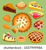 cartoon cakes pie slice fresh... | Shutterstock .eps vector #1037999986
