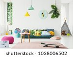 botanical kid's room interior... | Shutterstock . vector #1038006502