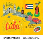 illustrated tourist map of cuba.... | Shutterstock .eps vector #1038008842