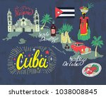 Stock vector illustrated tourist map of cuba national color travel and attractions 1038008845