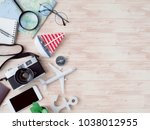 top view travel concept with... | Shutterstock . vector #1038012955
