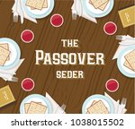 traditional passover table with ... | Shutterstock .eps vector #1038015502