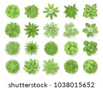trees top view. different... | Shutterstock .eps vector #1038015652