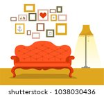 retro red sofa with lamp in... | Shutterstock .eps vector #1038030436