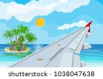 view of wing of aircraft in sky.... | Shutterstock . vector #1038047638