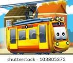 Happy tram in the city - stock photo