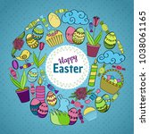 colorful vector of easter... | Shutterstock .eps vector #1038061165