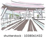 shopping mall interior sketch | Shutterstock .eps vector #1038061432
