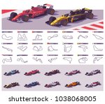 vector motor racing tracks... | Shutterstock .eps vector #1038068005