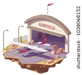 vector low poly airfield with... | Shutterstock .eps vector #1038068152