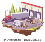 vector low poly warehouse with... | Shutterstock .eps vector #1038068188