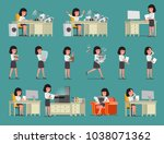set. businesswoman works with... | Shutterstock .eps vector #1038071362