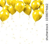 yellow baloons on the upsteirs... | Shutterstock . vector #1038074662