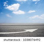 asphalt road with arrow and... | Shutterstock . vector #1038076492