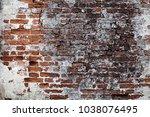 brick wall old industrial... | Shutterstock . vector #1038076495