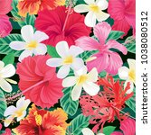 seamless tropical pattern with...   Shutterstock .eps vector #1038080512