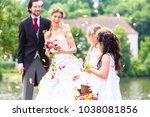 wedding couple bride and groom... | Shutterstock . vector #1038081856