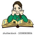 cute girl sitting  reading an... | Shutterstock .eps vector #1038083806