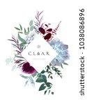 rhombus floral label frame... | Shutterstock .eps vector #1038086896