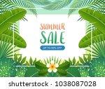 summer sale background banner... | Shutterstock .eps vector #1038087028