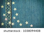 blue denim textural background  ... | Shutterstock . vector #1038094408