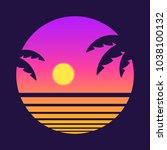 retro style tropical sunset... | Shutterstock . vector #1038100132