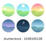 nature landscape at different... | Shutterstock . vector #1038100138