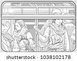illustration of crowded metro... | Shutterstock .eps vector #1038102178