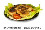meat cutlets on lettuce leaves... | Shutterstock . vector #1038104452