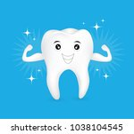 healthy tooth character showing ... | Shutterstock .eps vector #1038104545