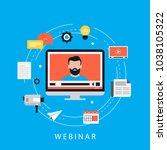 webinar  video conference ... | Shutterstock .eps vector #1038105322