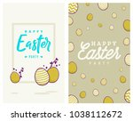 happy easter party invitation... | Shutterstock .eps vector #1038112672